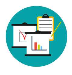 Business analytics icon clipboards with graphics vector