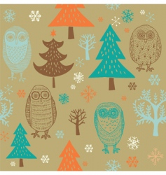 Christmas forest with owl vector image vector image