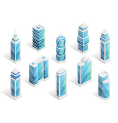 city houses isometric set vector image