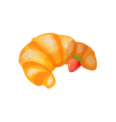 Croissant with strawberry vector