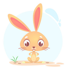 cute funny cartoon rabbit or bunny vector image vector image