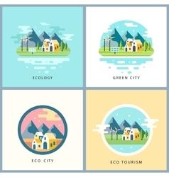 Eco city set alternative energy concept vector