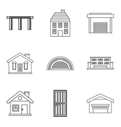 exterior icons set outline style vector image