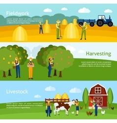 Farming 3 flat horizontal banners set vector