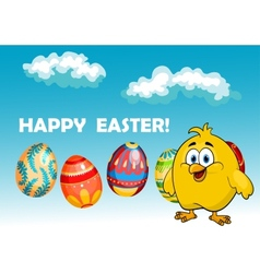 Happy chick in an Easter card design vector image