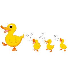 happy duck family cartoon vector image vector image