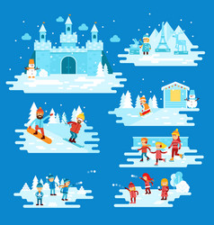 infographic elements winter entertainments people vector image vector image