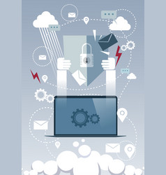 Laptop computer device data protection cloud vector