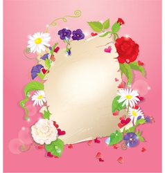 love letter with hearts and flowers - rose daisy vector image vector image