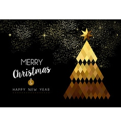 Merry Christmas design of gold low poly pine tree vector image