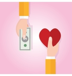 Money buying love happiness heart shape symbol vector