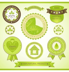 natural product labels set vector image