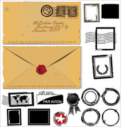 Old envelope and postage stamp set vector image