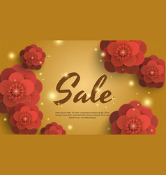 Sale gold background with red paper flowers vector