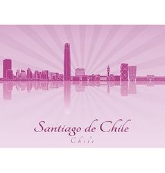 Santiago de chile skyline in purple radiant vector