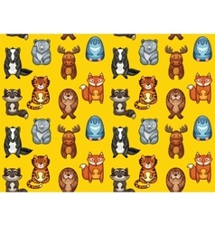 Seamless pattern with funny animals in cartoon vector image vector image