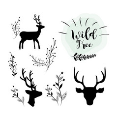 set deer wild animal with branches icons vector image