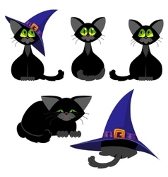 Set of black cats in various poses Halloween vector image