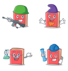 Set of red book character with army elf professor vector