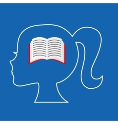 Silhouette head girl school book vector