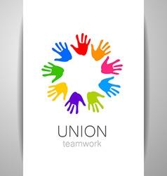 Union hands teamwork logo template vector
