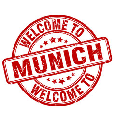 Welcome to munich red round vintage stamp vector
