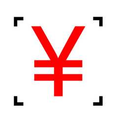Yen sign red icon inside black focus vector