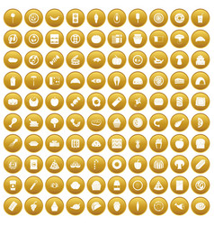 100 meal icons set gold vector image vector image