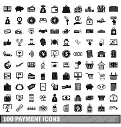 100 payment icons set in simple style vector