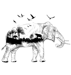 Double exposure elephant vector