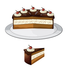 Chocolate cake with cherry vector