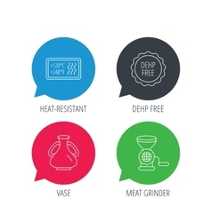Meat grinder vase and heat-resistant icons vector
