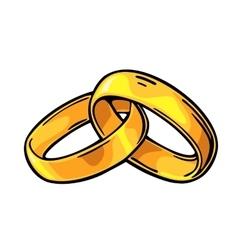 Wedding rings vintage black engraving vector