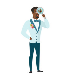 African-american groom with magnifying glass vector