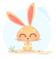 Cute funny cartoon rabbit or bunny vector