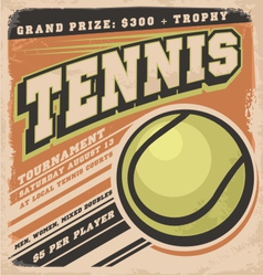 Retro poster design for tennis tournament vector image