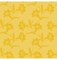 Seamless pattern with blooming yellow lilies vector