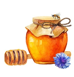 Watercolor honey jar and honey stick vector