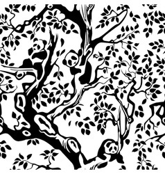Pandas in the foliage and tree branches seamless vector