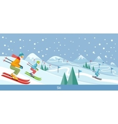 Skiing winter landscape design vector