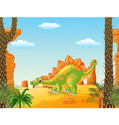 Cartoon cute stegosaurus posing with prehistoric vector