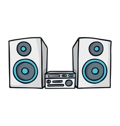 Sound system cute doodle sketch isolated on white vector