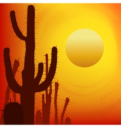 Sunset with saguaro cactus vector