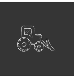 Bulldozer drawn in chalk icon vector