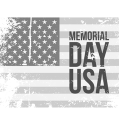 Memorial day usa text on grunge flag vector