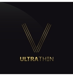 Ultrathin v letter vector