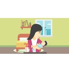 Mother with baby and breast pump vector