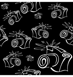 Black and white contour photo camera seamless vector image vector image