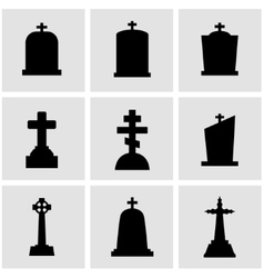 Black gravestone icon set vector