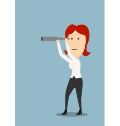 Businesswoman looking through a spyglass vector image